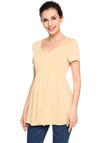 Zeagoo Women's Short Sleeve O Neck Fit and Flare Swin Tunic Tops Coffee Medium