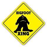 BIGFOOT CROSSING Sign sasquatch big foot print monster fantasy big foot ape gift
