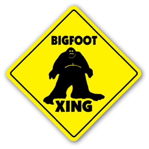BIGFOOT CROSSING Sign sasquatch big foot print monster fantasy big foot ape gift
