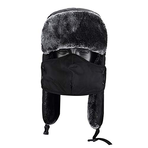 (Topnaca Winter Trooper Trapper Hat with Ear Flap for Men Women, Waterproof Thermal Warm Russian Style for Snow Skiing Hunting Walking Hiking (Black) )