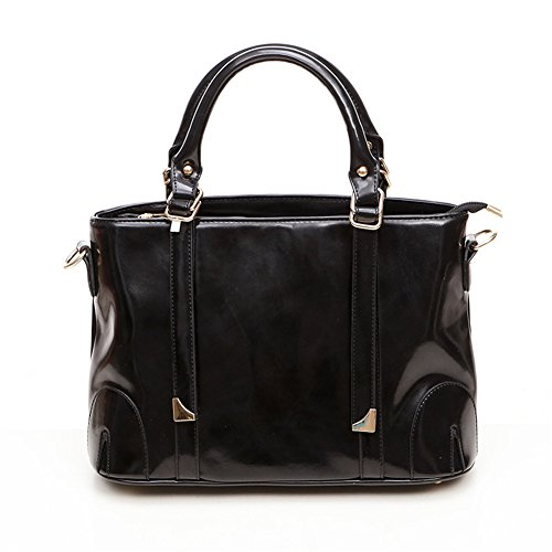 QCKJ Fashion Cross Body Umhängetasche Damen Zip PU Schwarz bandbag Large