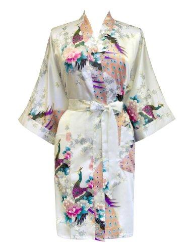 Old Shanghai Women's Kimono Short Robe - Peacock & Blossoms - White - Dressing Robe