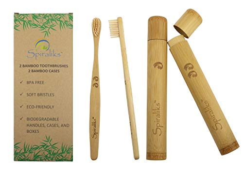 (Soft Bristles BPA Free Bamboo Toothbrushes and Cases, Natural Biodegradable, eco-friendly, with travel holders, set of 2 handmade gift set)