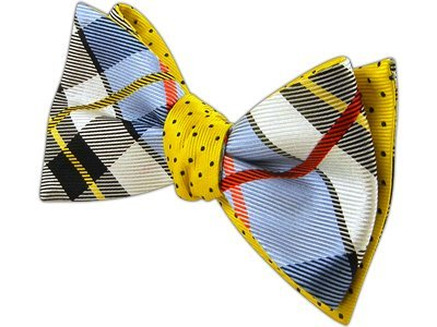 The Tie Bar 100% Silk Blue and Yellow Grandiose Dots Reversible Self-Tie Bow Tie (Mens Reversible Tie)