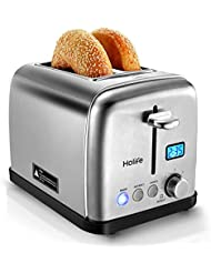 HOLIFE Toaster Two Slice Stainless Steel Bagel Toaster with 6 Bread Shade Settings, Bagel/Defrost/Reheat/Cancel Function, Extra Wide Slots, Removable Crumb Tray, 900W, Silver (Upgraded)