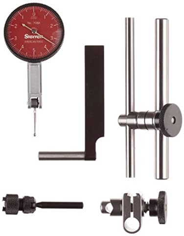 Starrett R708ACZ Dial Test Indicator with Attachments, Dovetail Mount, Red Dial, 0-5-0 Reading, 1.375