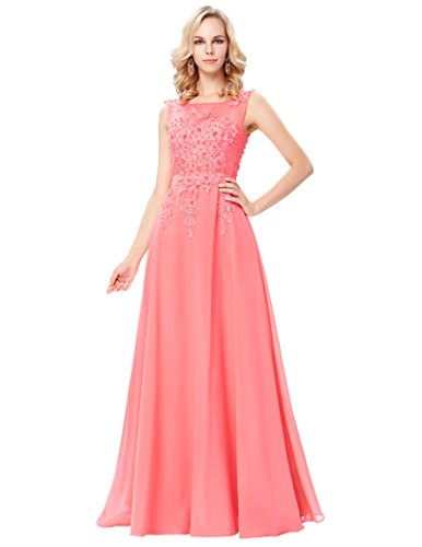 Women's Long Evening Gowns Prom Gowns Coral Pink Size 12