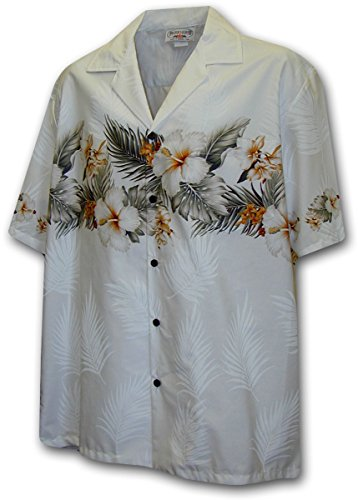 Hawaiian Shirt for Men - White w/ Floral Stripe, XX-Large