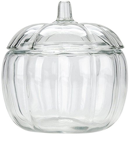 Circleware Clear Pumpkin Glass Canister Cookie jar with Glass Lid and Handle 74 Ounce Halloween Decorations Preserving -