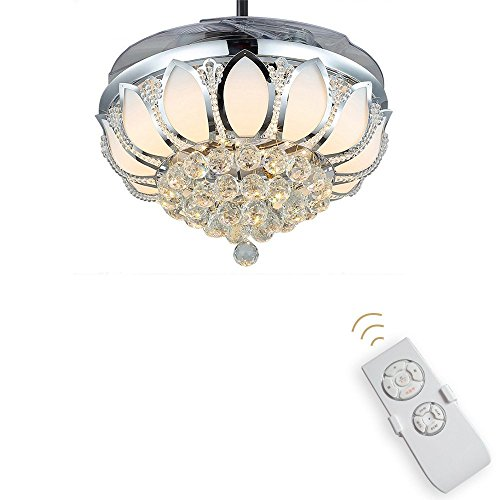 Luxury Modern Crystal Chandelier Ceiling Fan Lamp Folding Ceiling Fans With Lights Chrome Ceiling Fan With Light Dining Room Decorative with Remote Control (Support Dimming) by LSSD (Image #1)