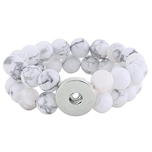 Lovmoment Bracelets Handmade Snap Charms with White Howlite Stretch Snap Bracelets