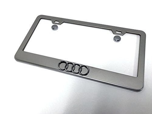 1 3D 4 Ring Logo Emblem Stainless Steel Chrome Metal License Plate Frame with Screw Caps Audi