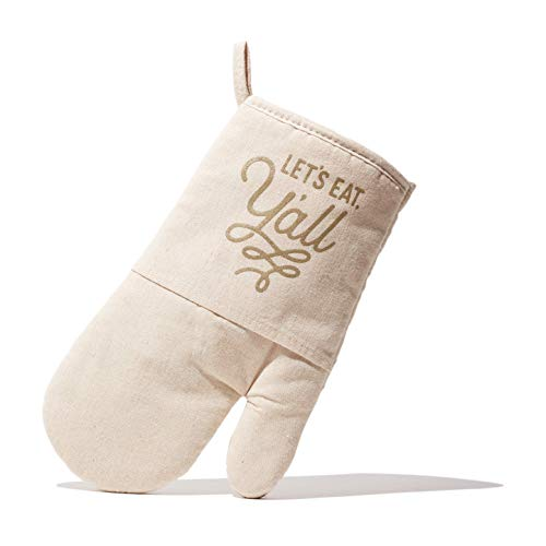 Texas Oven Mitt with Lets Eat Yall Design in Natural Quilted Cotton Texas Gift