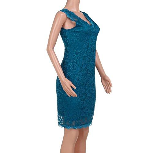 Esbelto Vintage Hueco Vestido Noche Mini Azul Bodycon Falda y de Mujeres Elegantes Cóctel Lenfesh las RBZxxw