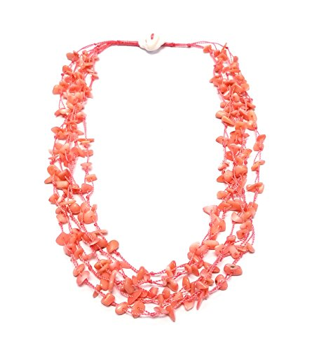 Regalia by Ulti Ramos Salmon Coral Multi Strand Chips Necklace with Mother of Pearl Toggle Clasp