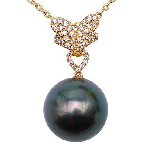JYX Pearl Necklace 14K Yellow Gold 11.5mm Round Peacock-green Tahitian Pearl Pendant Necklace 18