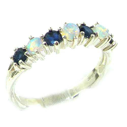 925 Sterling Silver Natural Opal   Sapphire Womans Eternity Ring   Size 4 75
