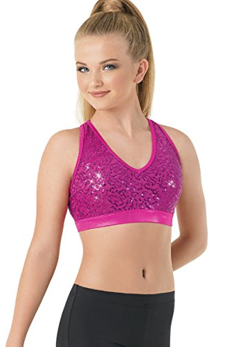 Balera Bra Top Girls Racerback For Dance Sequin and Metallic T Back Sports Bra Fuchsia Adult Large