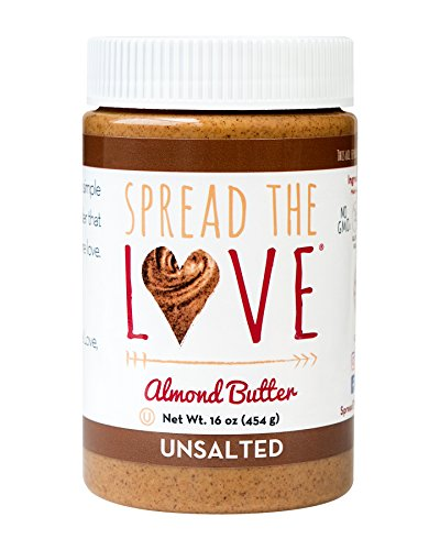 Almond Sugar Free Butter - Spread The Love UNSALTED Almond Butter, 16 Ounce (All Natural, Vegan, Gluten-free, Creamy, No added salt, No added sugar, No palm fruit oil, Not pasteurized with PPO)