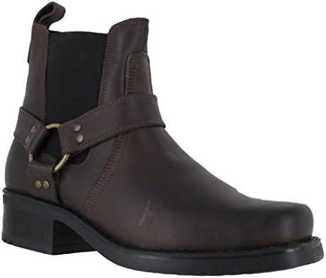 Gringos HARLEY Mens Leather Square Toe Harness Ankle Biker Cowboy Boots Black
