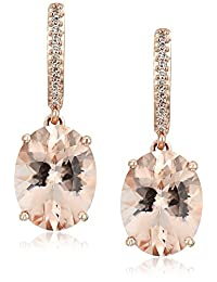 10k Rose Gold Oval Shaped Morganite and Diamond Accented Drop Earrings
