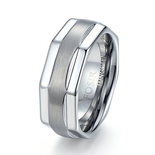 FOSIR Tungsten 8mm Mens Step Edge Brushed Center Unique Wedding Band Ring Comfort Fit (Unique Costume)