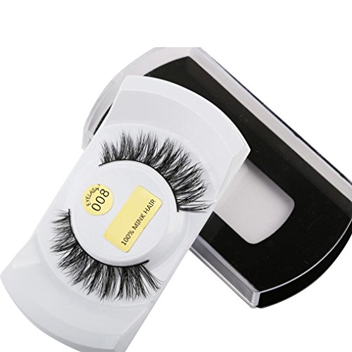 Sunward 3D Mink Fur Fake Eyelashes Women's Makeup False Lashes Hand-made 3D Style 1 Pair Package (G) (D&g Women Sweaters)