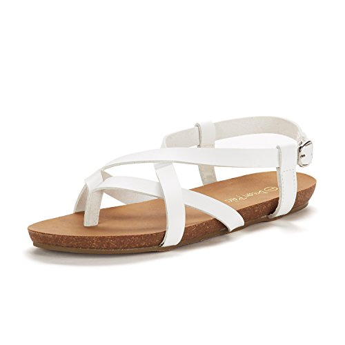 Dream Pairs Women's Slingback Sandals 01 Bold white Flat v6vUrx