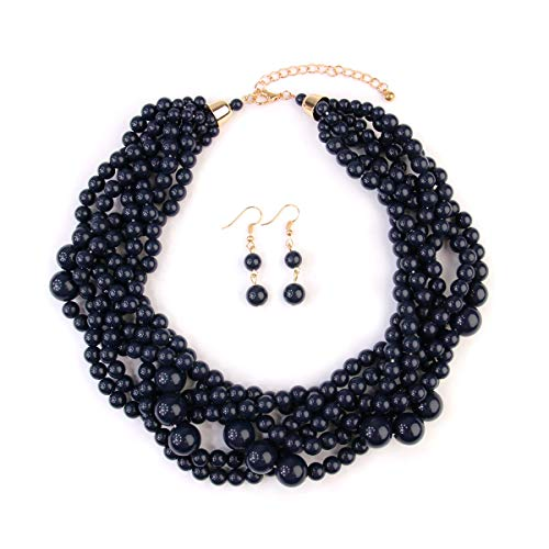 RIAH FASHION Braided Chunky Cluster Bead Bubble Statement Necklace - Multi Strand Twisted Colorful Twisted Ball Hammock Bib Collar (Navy)