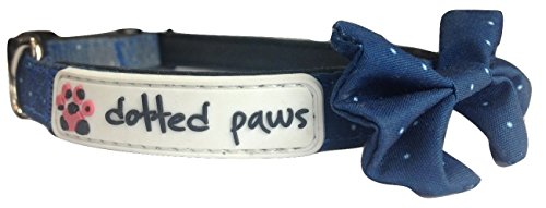 Dotted Paws Dog Cat Collar with BOW Tie CUTE Polka Dots Print Small Dotted Blue NEOPRENE - List Designers Australian