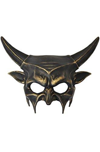 [Mememall Fashion Demonic Inferno Mardi Gras Masquerade Mask (Black/Gold)] (Demonic Masks)