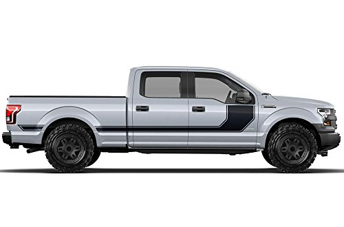 Factory Crafts Ford F-150 2015-2017 SuperCrew 6.5 Bed Rally Stripe 1 Graphics 3M Vinyl Decal Wrap Kit - Matte Black