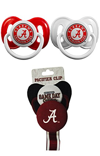 NCAA Alabama Crimson Tide Pacifier Clip with 2 pack Pacifier (Alabama Crimson Tide Ribbon)