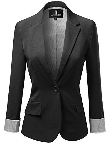 Solid+Boyfriend+Look+Stripe+Lining+Blazers+Black+Size+XL
