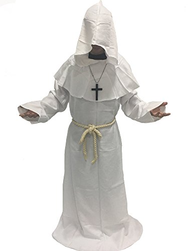 MARIAN Medieval Monk Robe Halloween Cosplay Hooded Cape Costume (White) (Unique Halloween Costumes For Couples 2017)
