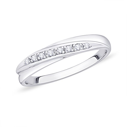 KATARINA Diamond Wedding Band in Sterling Silver (1/20 cttw, Color GH, Clarity I2-I3) (Size-8) -