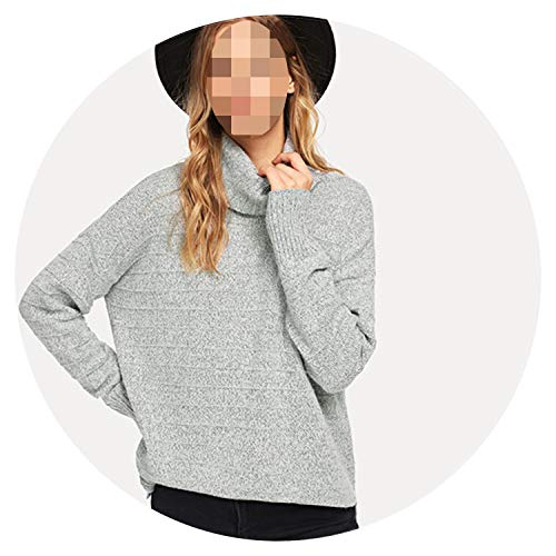 Barry-Story Rolled Neck Slit Hem Marled Sweater 2018 Autumn Streetwear Fashion Women Pullovers Sweaters,Gray,M