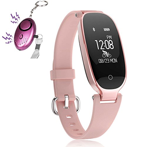 Fitness Tracker, Women Sport Tracker Smart Watch Band Bracelet, Heart Rate Monitor Women Swimming Wristband Watch with Health Sleep Activity Tracker Pedometer for Smartphone, 1 Free Personal Alarm