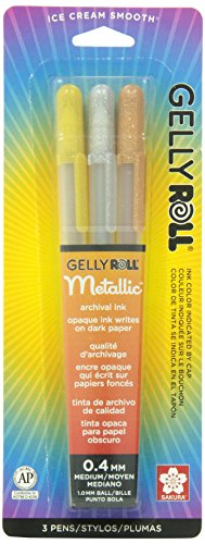 Sakura 57387 3-Piece Gelly Roll Blister Card Metallic Gel Ink Pen Set, Assorted Colors