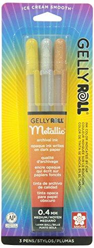 Sakura 37379 - Juego de bolígrafos de tinta de gel (3 unidades, punta fina, varios colores), Gelly Roll (Rollo de gelatina),...