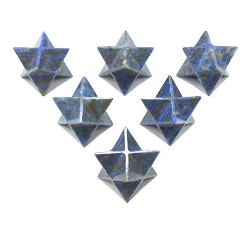 Lapis Lazuli Merkaba Star Crystal Sacred Geometry Set, Reiki Healing Energy