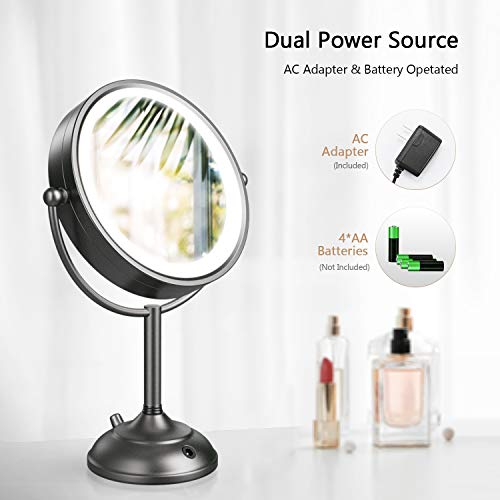 "Professional 8.5"" Lighted Makeup Mirror, 10X Magnifying Vanity Mirror with 32 Medical LED Lights, Senior Satin Nickel Cosmetic Mirror,Brightness Adjustable(0-1100Lux) Desk Lamp Night Light Alternative"
