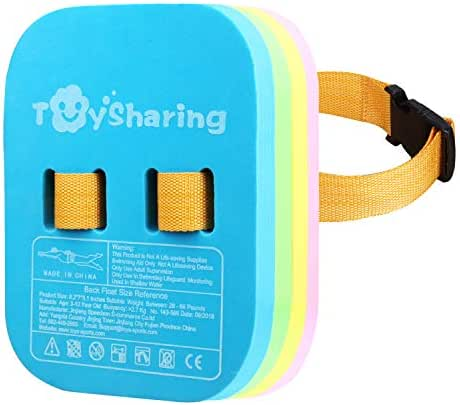 TOYSHARING Back Float Safety Swim Bubble Belt with Adjustable Layers Swim Back Float Secure Clip Buckle Waterproof Swim Float for Kids Toddler Baby Childrens Swimming Aids Belt Bubbles Floats