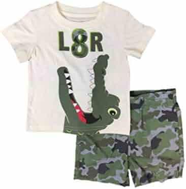 27974c90b Infant & Toddler Boys L8R Gator Outfit Alligator Shirt & Camo Shorts Set