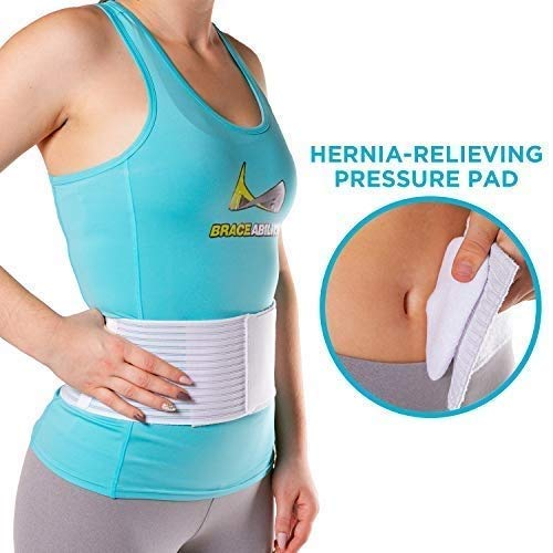 BraceAbility Hernia Belt for Men & Women | Stomach Truss Binder with Compression Support Pad for Abdominal, Umbilical, Navel & Belly Button Hernias - S/M (New & Improved) Fits 28