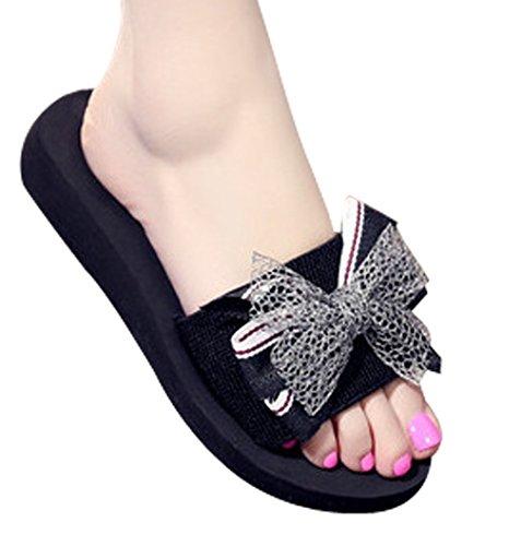 Cattior Womens Summer Cute Outdoor Open Toe Slippers Slide Sandals Black DMec76QM