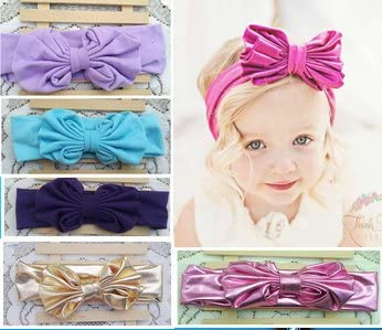 Baby Girls Big Bow Hairband Headband Stretch Turban Big Knot Head Wrap Headwear