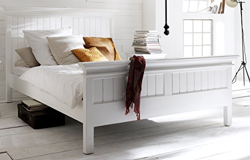 NovaSolo Halifax Pure White Mahogany Wood Platform Queen Bed With Slats And Wooden Support (Bedroom Brass Daybed)