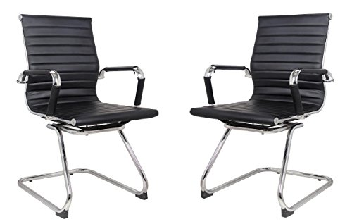 Classic Replica Visitors Chair in Black PU Leather. Chrome arms with Protective arm Sleeves with Zip Available. Suitable for Office and Home | Set of 2 - Office Home Set