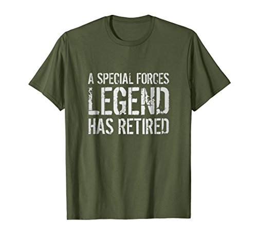Mens Retired US Special Forces Soldier Retirement Gift Tee Shirt 2XL Olive by Military Armed Forces Veteran Soldier Gifts